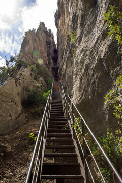 Verdon canyon: the steep ladders of Brèche Imbert, halfway the famous Martel hiking trail, France