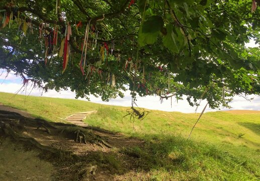 colorful ribbons in a tree at the landscape of avebury in england