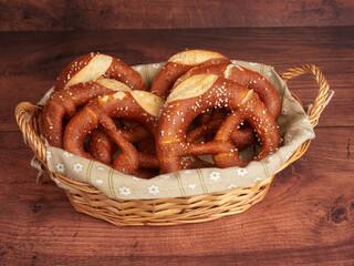 Bavarian pretzels in a basket