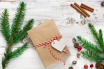 Zero waste Christmas concept. Hand crafted christmas gift wrapping without plastic.