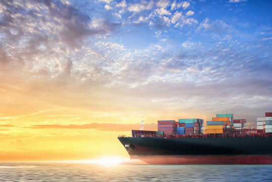 Container cargo ship in the ocean at sunset sky, Global business logistics import export background, Freight transportation, Shipping