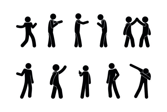 standing man illustration, people in various poses, stick figure pictograms set people isolated silhouettes