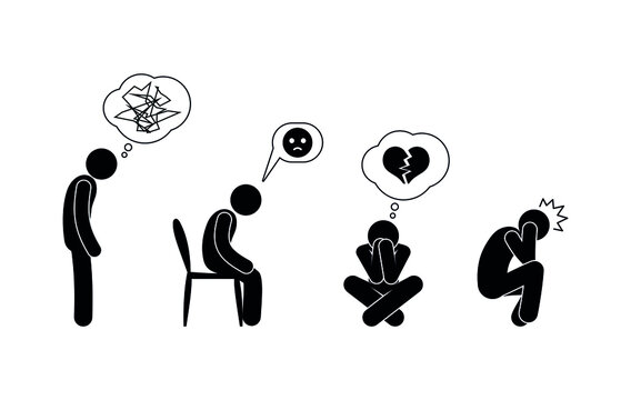 depressed state of the psyche, depression and sadness illustration, confused thoughts, pain, human mental suffering, stick icons person figure