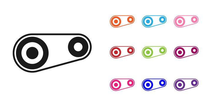 Black Timing belt kit icon isolated on white background. Set icons colorful. Vector Illustration.
