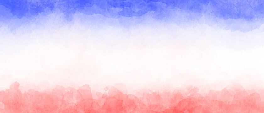 Blue white red watercolor background