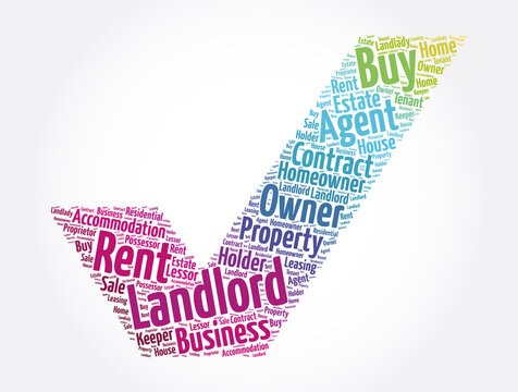 Landlord check mark word cloud collage, concept background