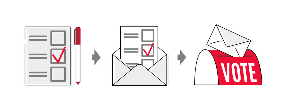 Vote by mail vector manual illustration on white background. Voting form, envelope, post box. Elections during quarantine concept.