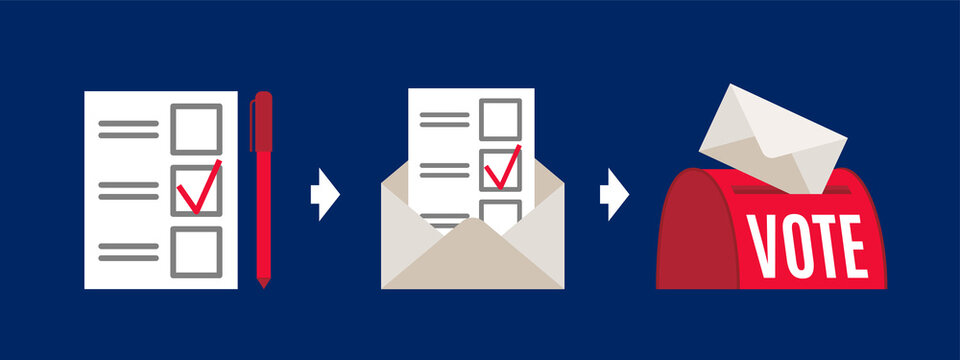 Vote by mail vector manual illustration on blue background. Voting form, envelope, post box. Elections during quarantine concept.