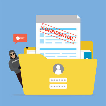 Yellow folder with confidential documents. Hacker attacking account. Sensitive data and information. Data protection.