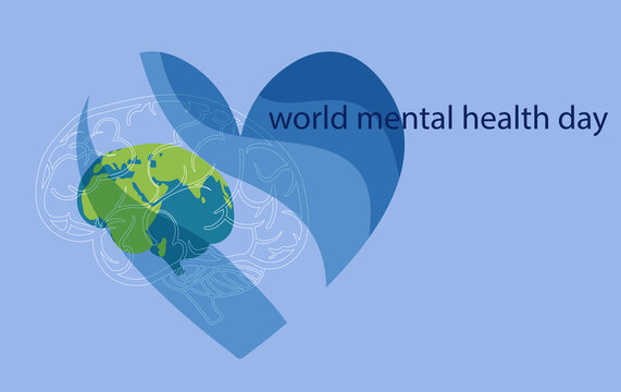 Stylized poster design for world mental health day. Image of the brain in the form of the planet earth surrounded by a heart in blue shades. EPS10