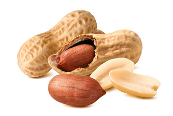 Peanut nuts with shell isolated on white background