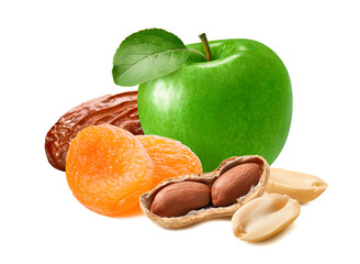 Fresh green apple, date, dry apricots and peanuts isolated on white background