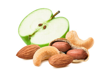 Half of green apple, cashew, almonds and peanuts isolated on white background