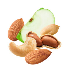 Flying almonds, cashew, peanuts and slice of green apple isolated on white background