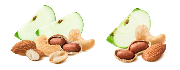 Slice of green apple, cashew, almond and peanut set isolated on white background