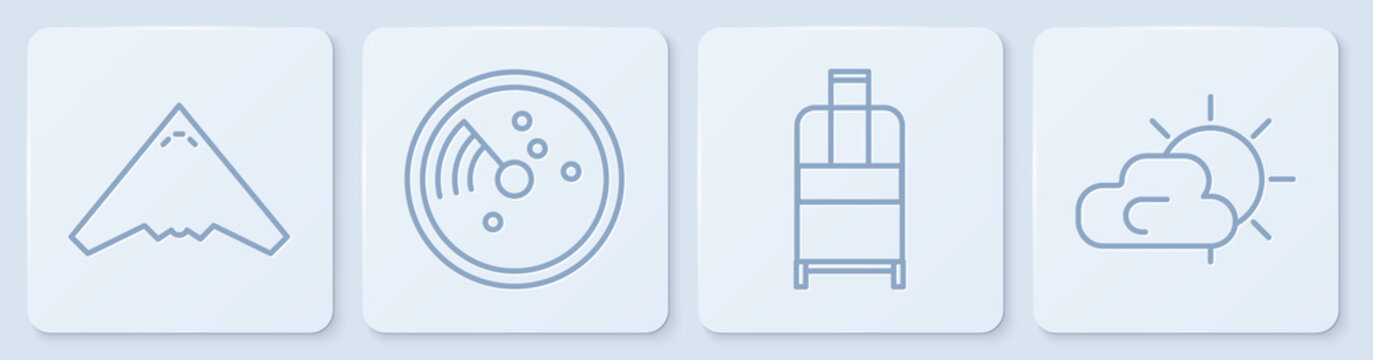 Set line Jet fighter, Suitcase, Radar with targets on monitor and Sun and cloud weather. White square button. Vector.