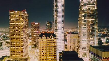 Fotobehang - City of Los Angeles at night. Aerial shot of downtown skyline. 4K UHD.