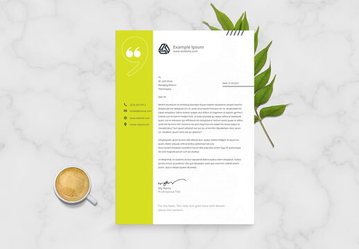 Letterhead Layout with Green Accents