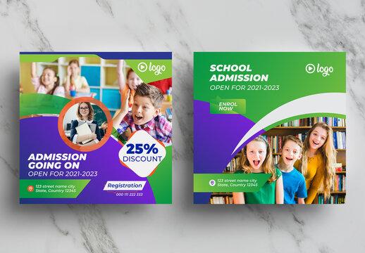Kindergarten Admission Social Media Banner Pack