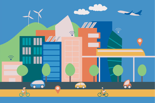 Illustration of a modern smart city with contemporary buildings, people on bycicles and eletric cars, wireless connection and green energy