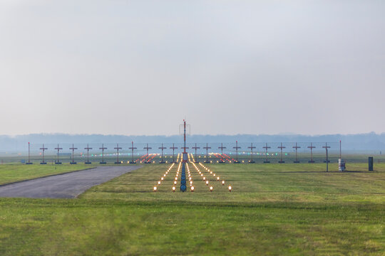 Germany, Bavaria, Munich, Runway of Munich Airport