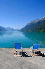 Deck chairs and lake view, Brienz, Brienzersee, Switzerland