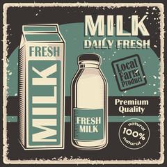 Milk Retro Vintage Classic Signage Poster