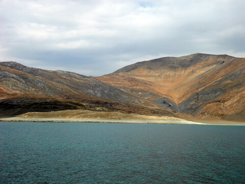 The attractive and beautiful nature of pangong lake in ladakh