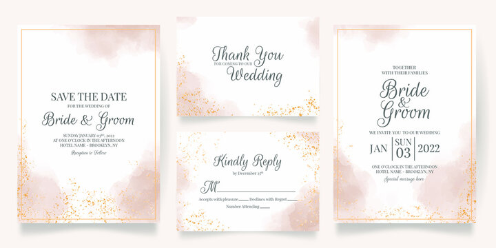 watercolor creamy wedding invitation card template set with golden floral decoration