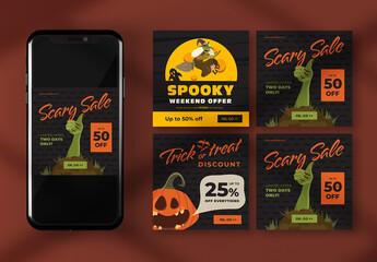 Halloween Social Media Banner Layouts