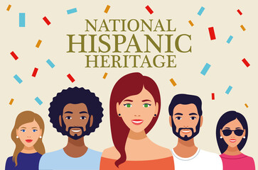 national hispanic heritage celebration lettering with people and confetti