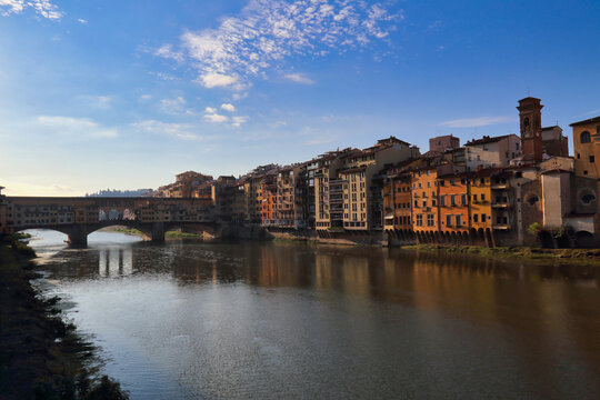 Buildings and Ponte Vecchio bridge on the Arno, Florence