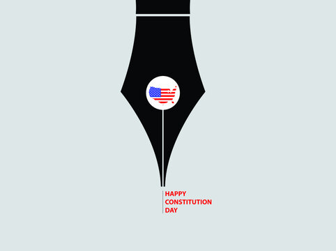 Happy Constitution Day in American. The USA Map with a pen nib. Celebrate annual on September 17. Patriotic stars and flag elements. Poster, banner, background design. Vector illustration