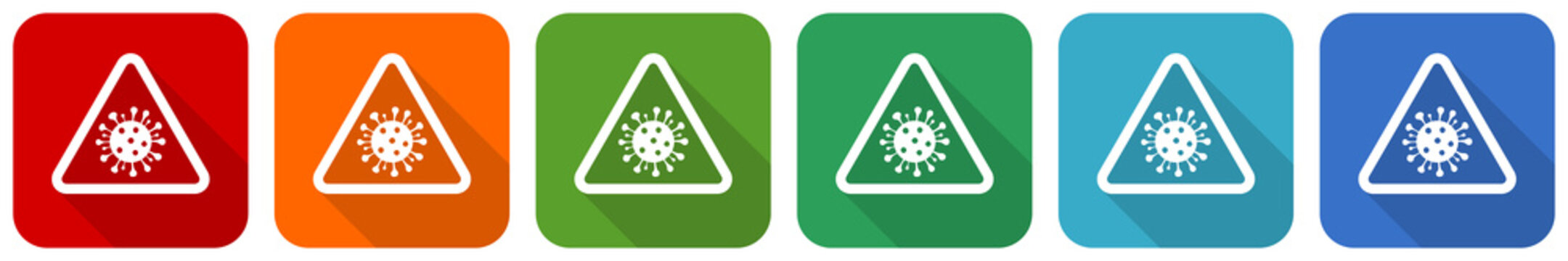 Coronavirus triangle warning sign, covid-19 caution icon set, flat design vector illustration in 6 colors options for webdesign and mobile applications