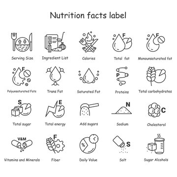 Nutrition facts line icons set. Nutrition supplements.Healthy, balanced eating. Fats, carbs, vitamins, minerals, and more. Nutrition facts concept.Isolated vector illustrations. Editable stroke