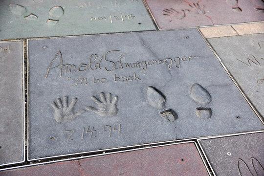 Handprints on ground in cement of Arnold Schwarzenegger