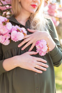 Pregnant woman hands on belly at spring with cherry blossoms