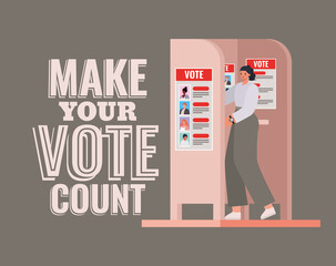 woman at voting booth with make your vote count text vector design