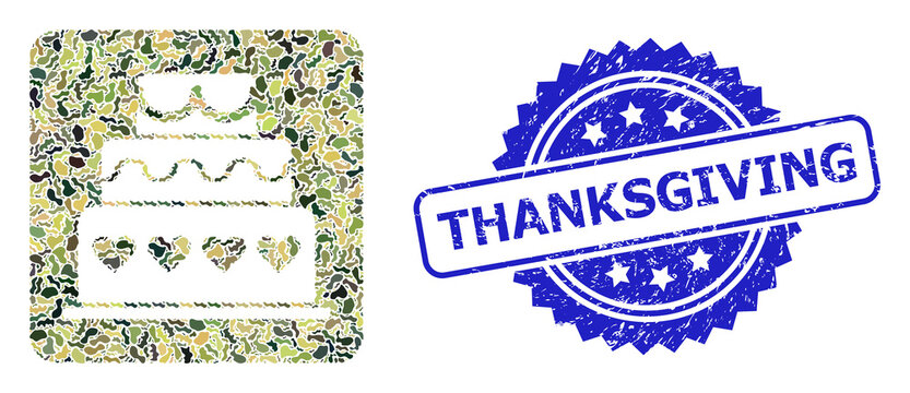 Scratched Thanksgiving Stamp Seal and Military Camouflage Collage of Marriage Cake