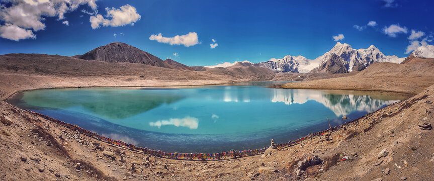 Panoramic view of Gurudongmar Lake Sikkim, Blue Still water Skies Mountain