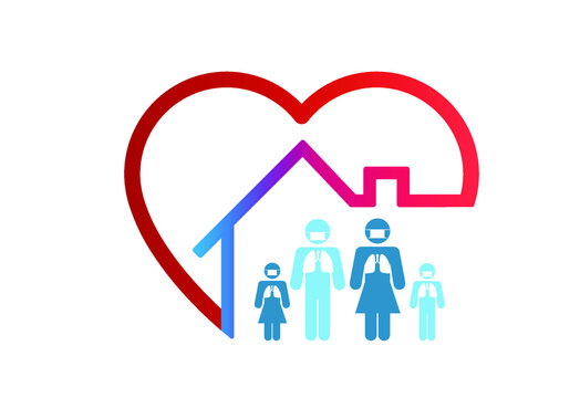 LOGO  Protect from COVID-19 virus stay home, heart, home sticker symbol  idea concept  vector.