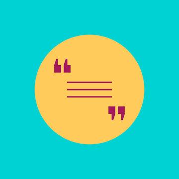 Round yellow quote icon. Vector illustration