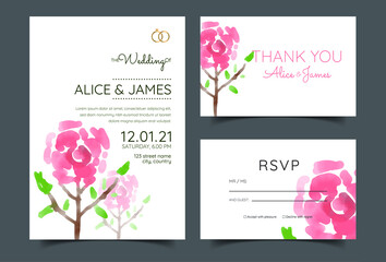 Obraz luxury wedding invitations, magenta roses - fototapety do salonu