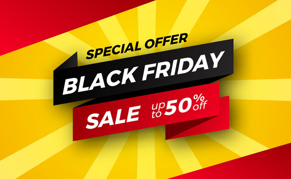 ribbon banner for black friday sale offer discount for retail commerce shopping.