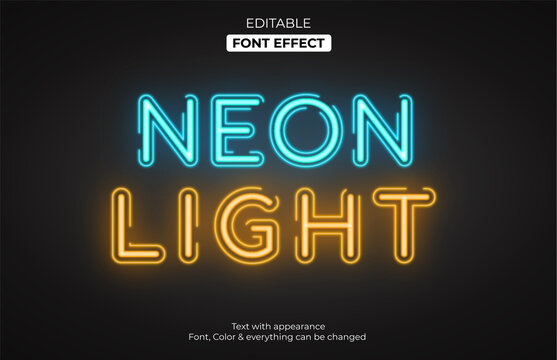 Glowing light style, Editable font effect