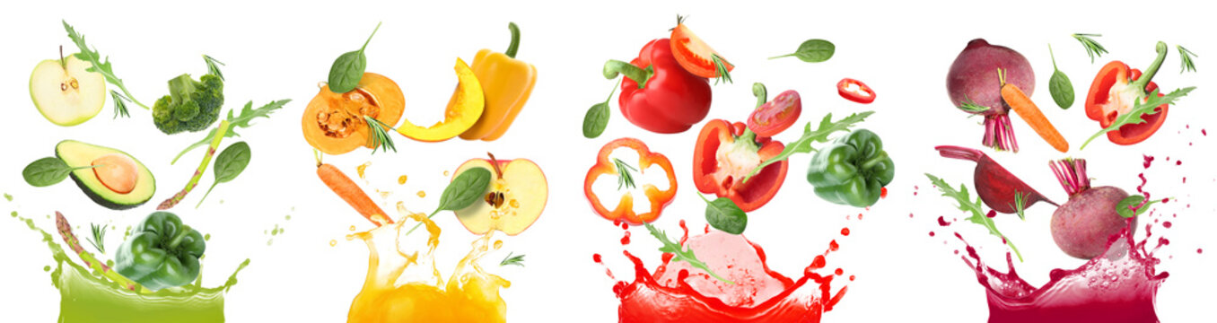 Splashes of different vegetable juices and flying ingredients on white background