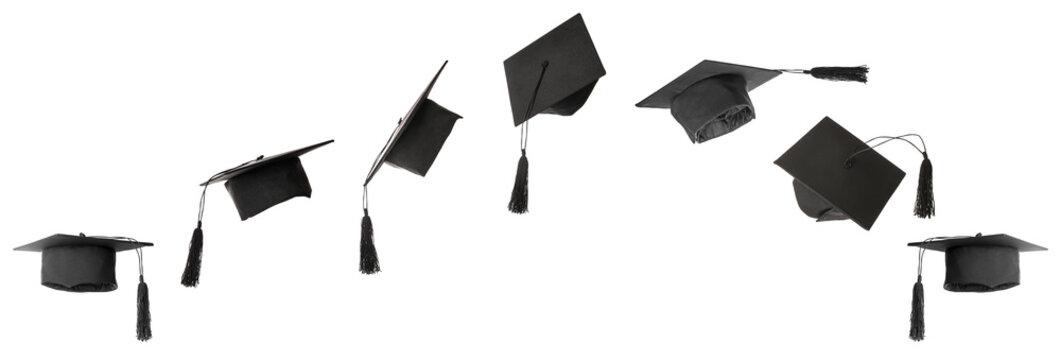 Graduation hats on white background