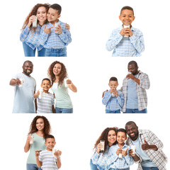 Collage with African-American family drinking milk on white background