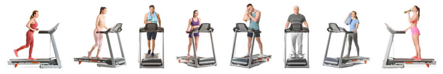 Sporty people training on treadmills against white background