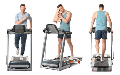 Sporty young man training on treadmill against white background
